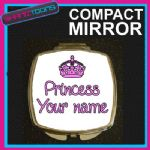 PERSONALISED NAME GIRLS PRINCESS GIFT COMPACT LADIES METAL HANDBAG MIRROR
